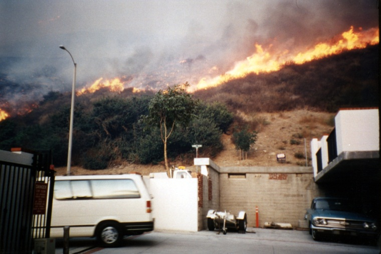 View of fire along Loma Terrace behind District headquarters