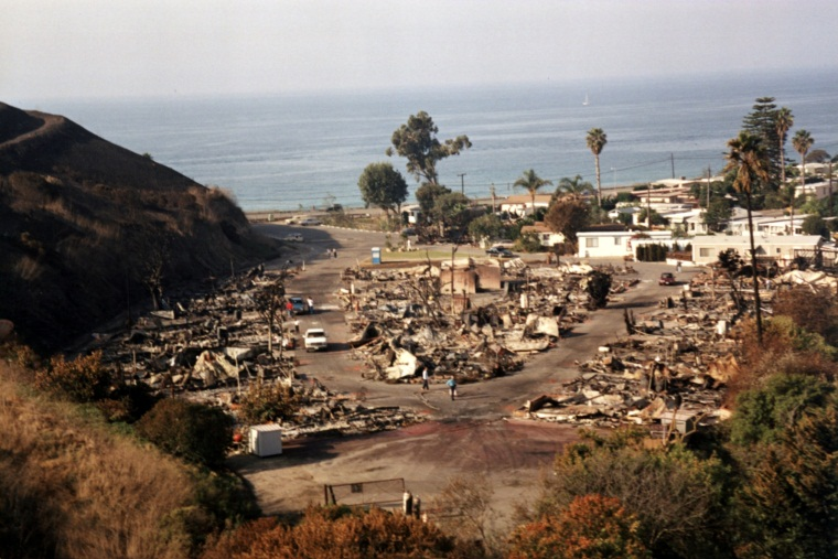 Aerial view of housing tract burned by fire