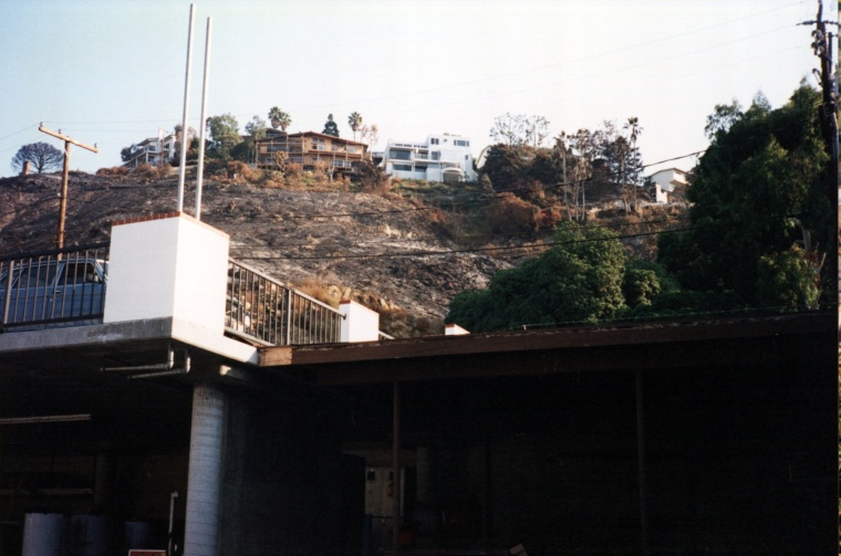 View of fire damage behind District headquarters