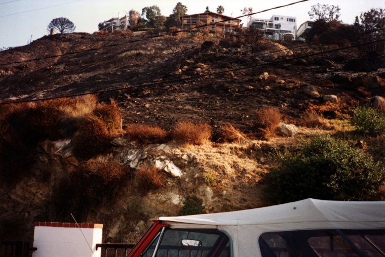 View of fire damage along Loma Terrace behind District headquarters